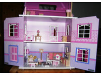 Wooden Attractive and Pretty Dolls House complete with furniture and people