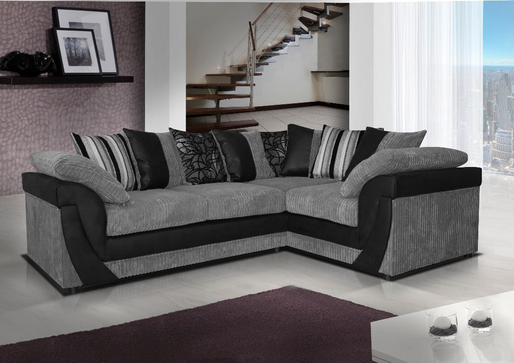 Brand New Lush Leather Amp Fabric Corner Sofa In Black Grey