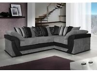 BRAND NEW LUSH LEATHER & FABRIC CORNER SOFA IN BLACK/GREY OR BROWN/BEIGE (FREE DELIVERY)