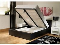 ***Express Delivery** Double Ottoman Gas Lift Storage Leather Bed Frame