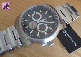 French Connection FC1190BM Men's Quartz Watch / Black Dial Analogue Display - NEW RRP £139