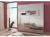 2 door sliding full mirrored wardrobe 180cm wide german made