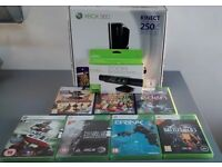 **MINT BOXED** XBOX 360 S SLIM 250GB Kinect Bundle + 7 Games + Nyko Zoom + EXTRAS