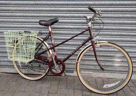 """Ladies Town Bicycle : Burgundy Raleigh 'Misty' : 1980's Retro Bike 18"""""""