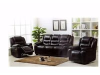 Brand New Suite 311, sofa with 2 single chair recliners, in Black or Brown, limited stock