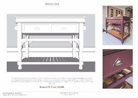 Handmade bespoke kitchen prep cart similar to Plain English, Devol, Mark wilkinson, Smallbone, etc..