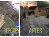 GARDENS SORTED,slabs,decking,fences,walls,trees cut,rubbish removed,REMOVALS