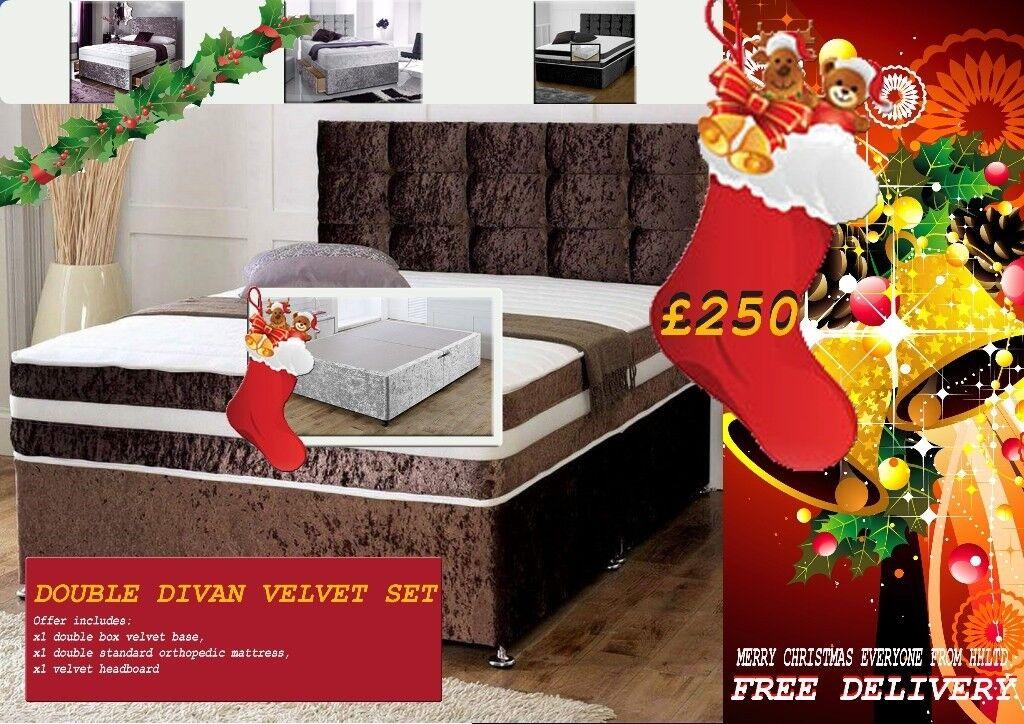 FREE DELIVERY FOR CHRISTMAS***BRAND NEW VELVET DIVAN BED
