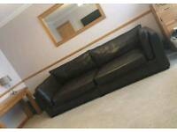 Scs Mocha leather endurance 4 seater and 1.5 snuggle chair can deliver
