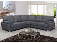 SOFA ALICIA, CORNER SOFA, BLACK FAUX LEATHER SOFA, SETTEE, FAST DELIVERY