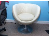 Full leather cup swivel chair with stainless steel base