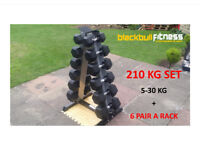 New 210KG 5-30KG 6 Pair Rubber Hex Dumbbells Set + A Rack storage Ergo ,Heavy Fitness gym equipment