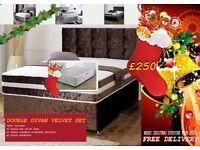 FREE DELIVERY FOR CHRISTMAS***BRAND NEW VELVET DIVAN BED SETS, AVILABLE IN VARIOUS COLOURS