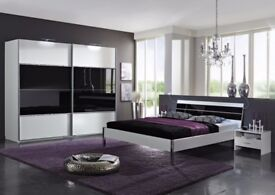 BEAUTIFUL HERO SLIDING WARDROBE WITH BLACK GLASS STRIP - BUILT IN DRAWS -READY TO DROP-FAST DELIVERY