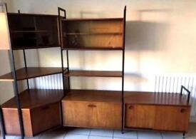 Vintage Mid Century Teak & Glass Avalon Wall System, like Ladderax, Danish influence.