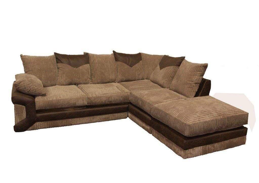 Dino Jumbo Cord Corduroy Fabric Leather Made Corner English Sofa Settee Couch
