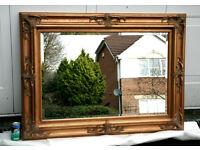 Very Large Gold Gilt Framed Bevelled Mirror