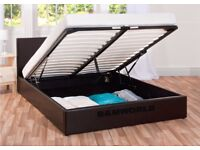 【DISCOUNT OFFER 】DOUBLE LEATHER STORAGE BED FRAME WITH OTTOMAN GAS LIFT UP WITH CHOICE OF MATTRESSES