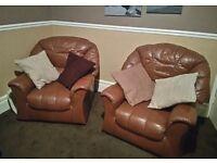Tan Leather 3 Piece Suite