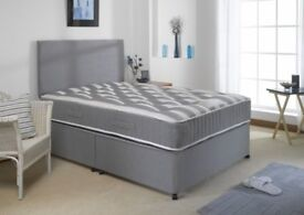 Delivery Today Luxury Crushed Velvet or Luxury Linen Look Single Bed Double Bed MATTRESS Headboard