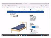 Pine single bed complete with slats, mattress and mattress pad (IKEA) £65 ono.