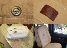 Land Rover Defender Melvill and Moon Heritage sand canvas seat covers, BNIB
