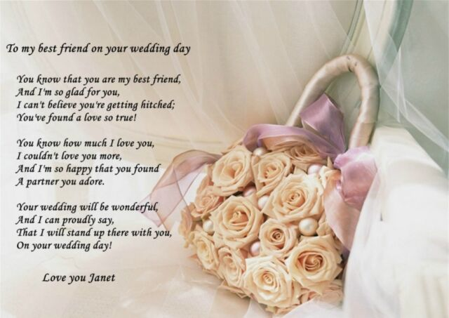 Personalised A4 Poem To My Best Friend On Her Wedding Day Ideal For Framing