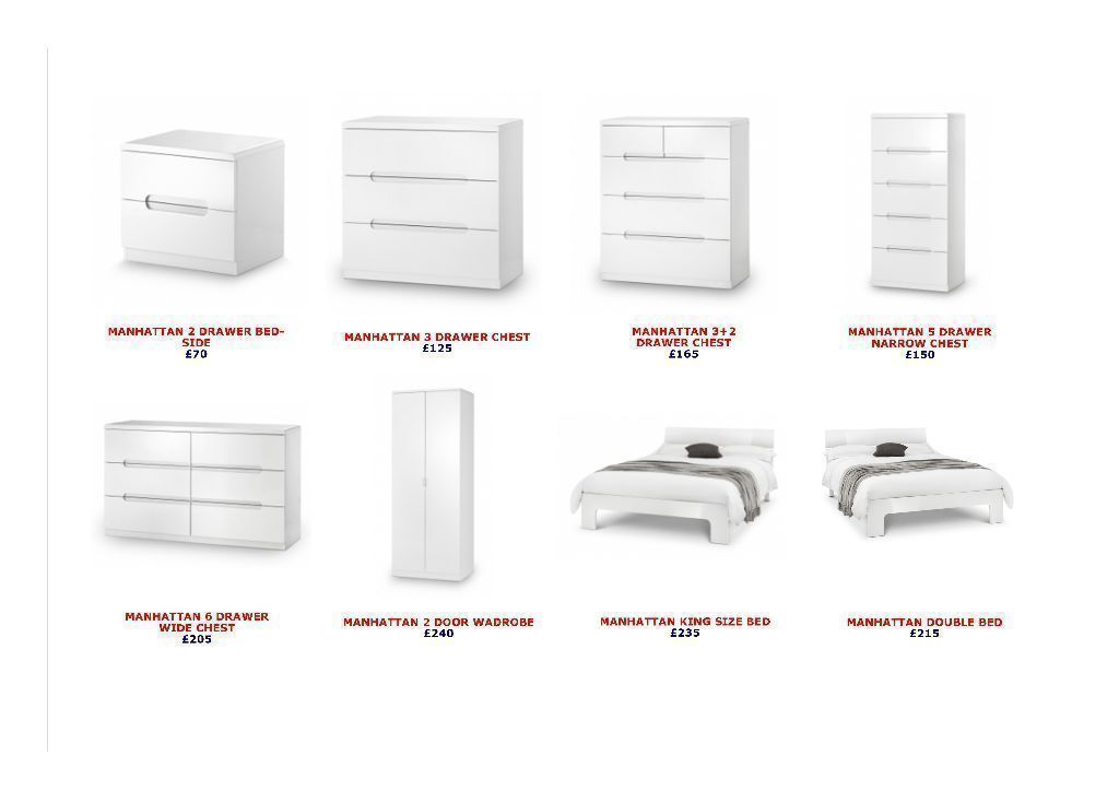 BRAND NEW Julian Bowen Manhattan White High Gloss Bedroom Furniture ***CAN  DELIVER*