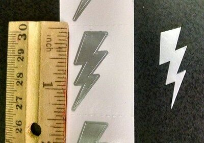 50 LIGHTNING BOLT STICKERS SILVER  ~ Thunder Bolt  FREE SHIPPING