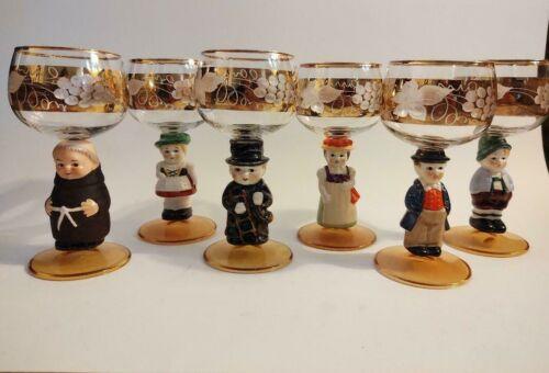 Set of Six German Goebel Hummel Wine Glasses