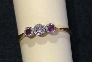 Vintage Ruby & Diamond Ring sz P 1/2 Gawler Gawler Area Preview