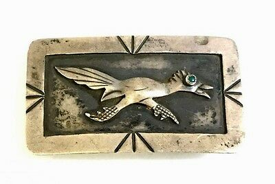 Vintage Native American Sterling Silver Turquoise Road Runner Belt Buckle