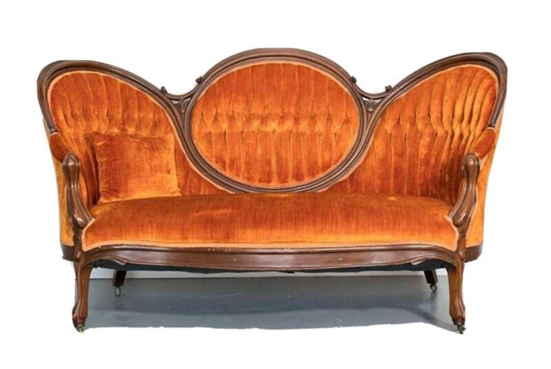 Victorian Late 1800s Antique Loveseat Settee Sofa Orange Velvet Sofa Will Ship!