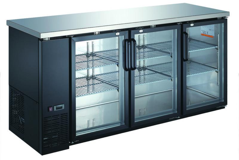 "72"" Black Three Door Back Bar Cooler - Counter Height Glass Front Refrigerator"