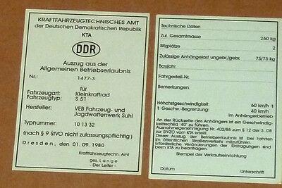Betriebserlaubnis,Allgemeine Betriebserlaubnis,ABE,KTA,S51,Sammlerbedarf,Simson