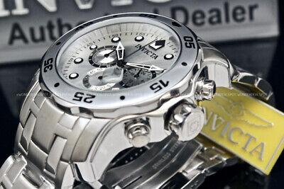 NEW Invicta Men Pro Diver Scuba 48MM Silver Dial Chronograph S.S Bracelet Watch
