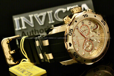 NEW Invicta Men Scuba Pro Diver Chrono 18K Gold Plated Rose Gold S.S Poly Watch