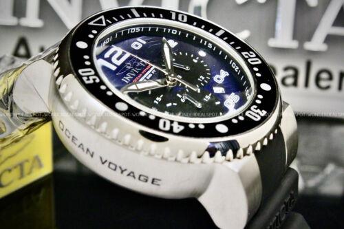 NEW Invicta Men GRAND Pro Diver OCEAN VOYAGE  Blue Wavy Dial Chrono Strap Watch