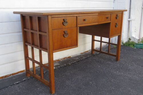 Hollywood Regency Leather Top Writing Office Desk by Thomasville 1224
