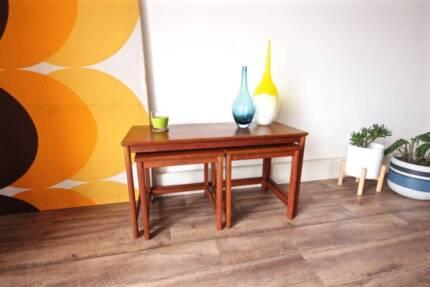 Genuine Parker Nest of 3 Retro Teak Coffee & Side Tables