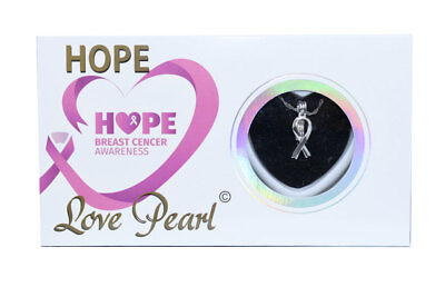 Breast Cancer Awareness Hope Ribbon Love Wish Pearl Necklace Kit with 16