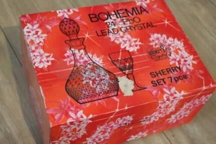 Bohemia 24% PbO Lead Crystal Sherry 7 piece set