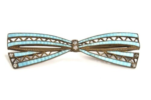 Victorian brooch Bar pin Bow antique 100 years old Turquoise Enameled  C-Clasp