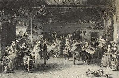 The Penny Wedding. Stahlstich von Greatbach nach Wilkie, 1860