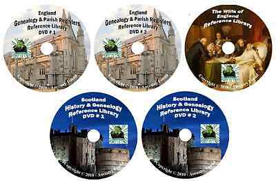 620 Books ENGLAND & SCOTLAND history & genealogy 5-DVDs