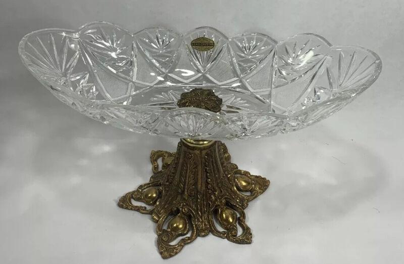 Vintage Hollywood Regency Handcut Lead Crystal Bowl With Pedestal Gold Metal