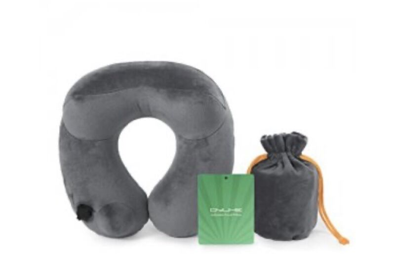 Qyuhe-Grey Automatic Inflatable Travel Neck Pillow With Skin Friendly Velvet+PVC