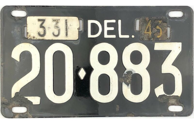 1943 Delaware Porcelain License Plate #20-883 WITH BOTH TABS