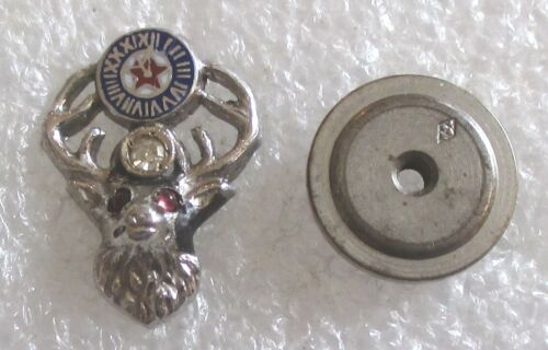 Vintage 10K White Gold / Diamond BPOE Elks Lodge Member Lapel Pin