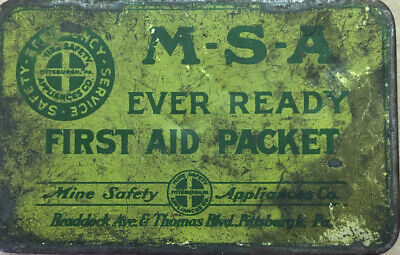 Vintage MSA Ever Ready First Aid Packet Mine Safety W Original Safety Items